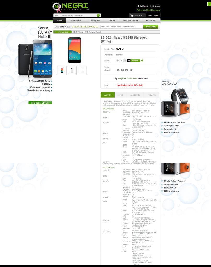 LG D821 Nexus 5 32GB  Unlocked   White  (1)