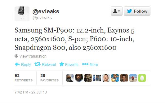 Twitter   evleaks  Samsung SM P900  12.2 inch  ...
