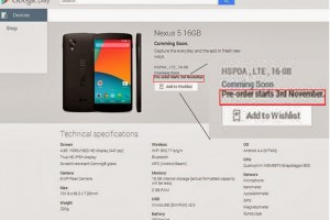 Latest Nexus 5 Leak Hints at Pre-Orders Starting November 3rd