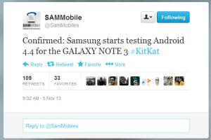 Samsung Testing Android 4.4 KitKat on Galaxy Note 3