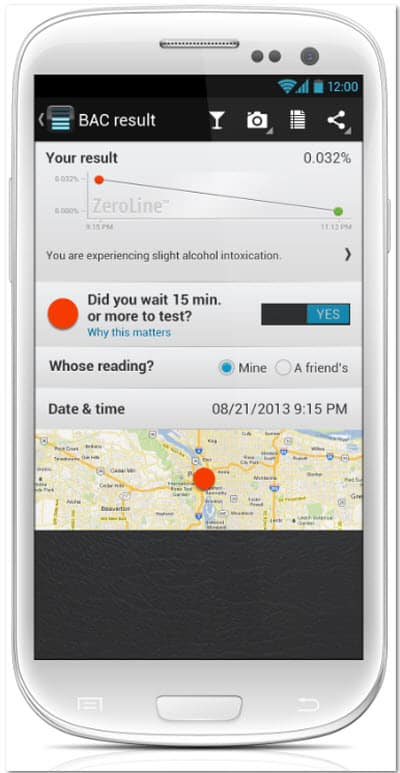 BACtrack Mobile Breathalyzer Detailed Results