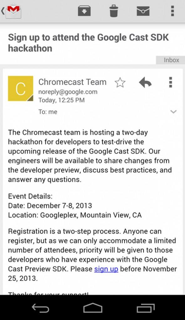 Chromecast Invite Email