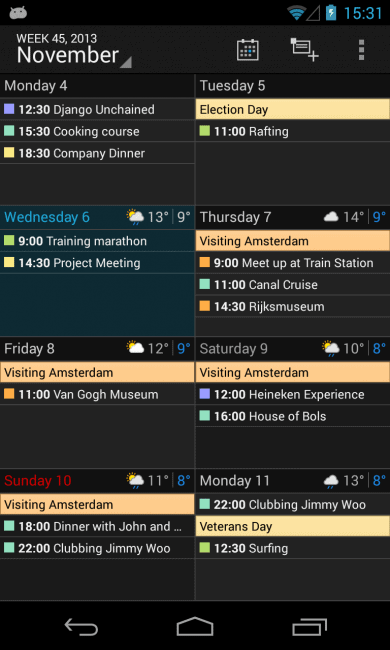 Dark - Week Agenda View