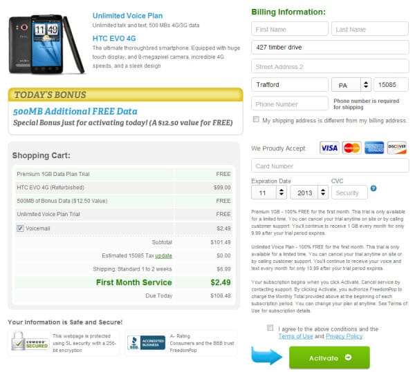 FreedomPop Final Page