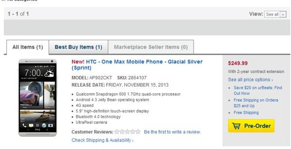 HTC One Max Sprint PreOrder