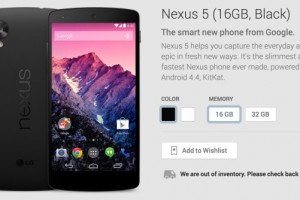 Nexus 5 Black 16 GB Version Sold Out; All Other Versions Remain With Long Waiting Periods
