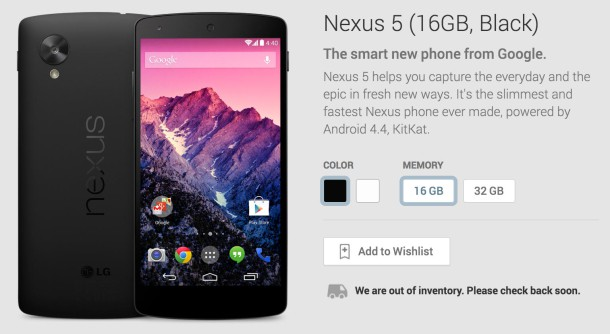 Nexus 5 sold out 610x334
