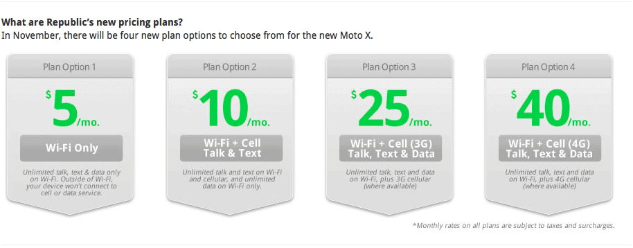 Republic Wireless Moto X Pricing Plans