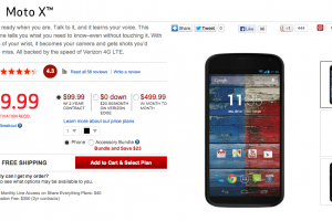 Verizon Moto X Gets A Price Cut: $99 On Contract, $499 Retail