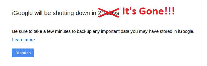 The iGoogle shutdown warning iGoogle Is Shutting Down on November 1222222 Last Few Users Are Being Warned Softpedia