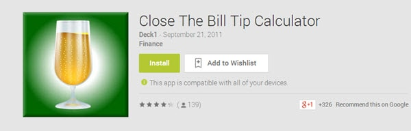 Close the Bill Tip Calculator