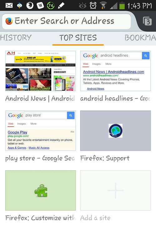 Firefox screen