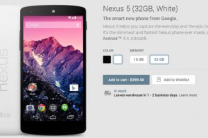 Nexus 5 – White 32GB Back In Stock and Will Ship in 1-2 Days