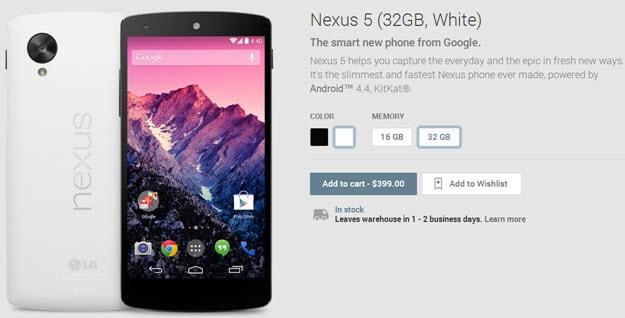 Nexus 5 back in stock