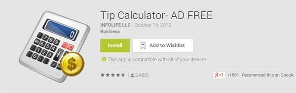 Tip Calculator - AD FREE