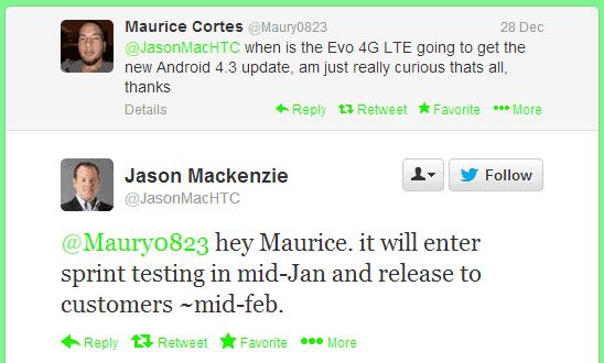 evo 4g lte android 4.3 tweet