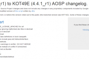 All the AOSP Commits from Android 4.4_r1 to 4.4.1_r1