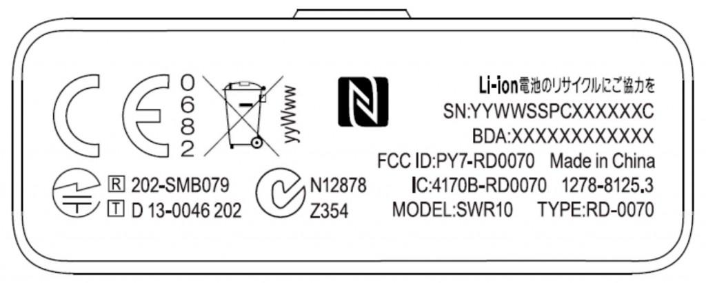 Sony FCC label
