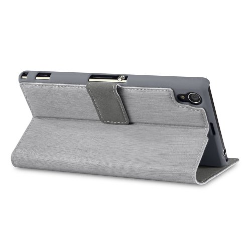 Sony-Xperia-Z1-Low-Profile-Faux-Leather-Wallet-Case-with-Viewing-Stand-By-Covert-Grey-5