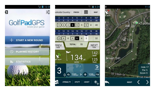 Golf Pad Golf GPS Rangefinder Collage