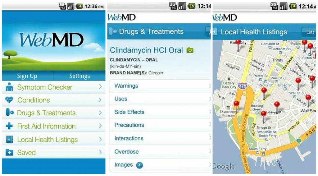 WebMD for Android Collage