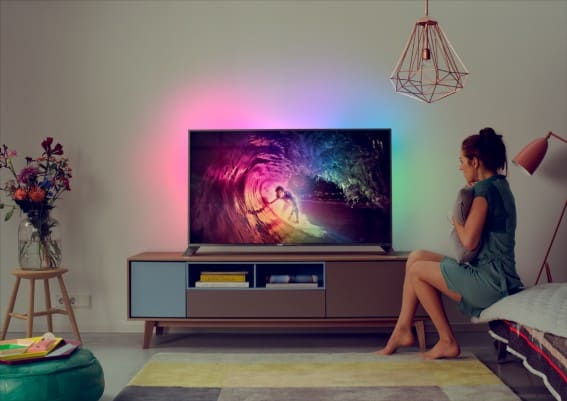 philips unveils its first android powered 4k tvs complete with ambilight features. Black Bedroom Furniture Sets. Home Design Ideas