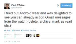 Twitter   PaulOBrien  I tried out Android wear and ...