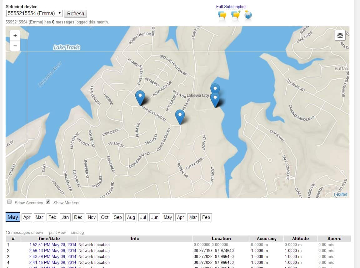 SMS Tracker Portal Demo GPS Breadcrumbs Image