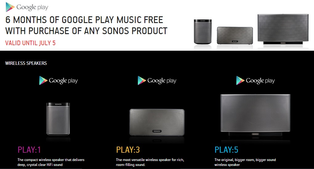 Sonos is offering you six months of free music through Google Play Music  All Access when you buy a new Sonos product. That's right, just pick up a  new ...