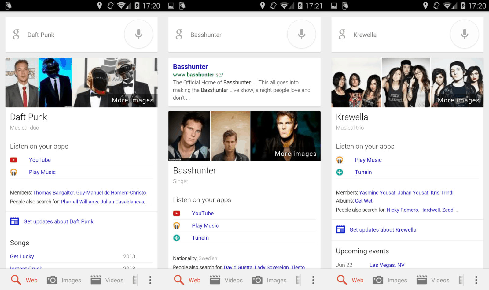 Google Music Artist Search Screnshots