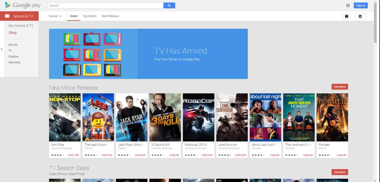 Google Play TV in Canada