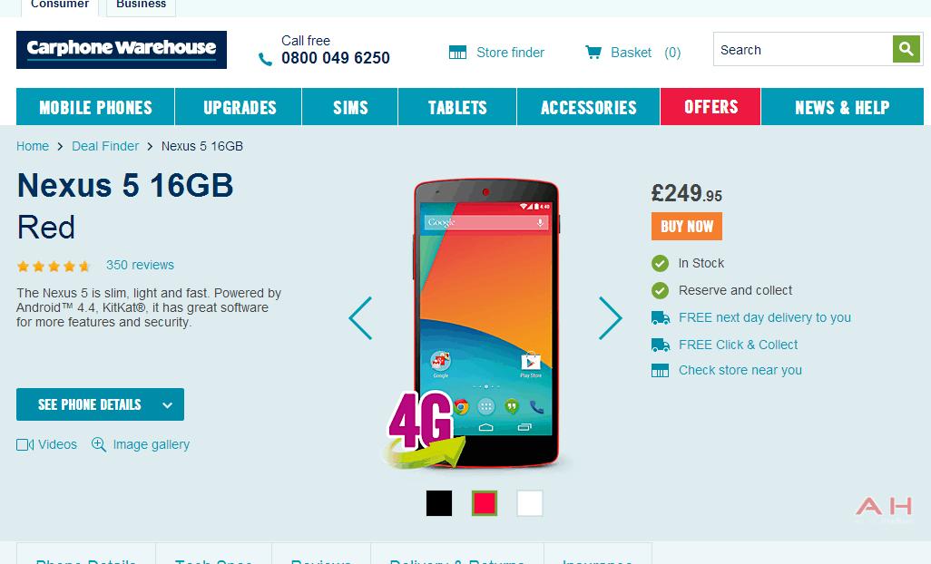 Nexus 5 Carphone Warehouse