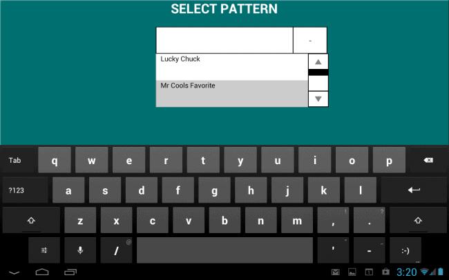 Select Pattern Screen Shot