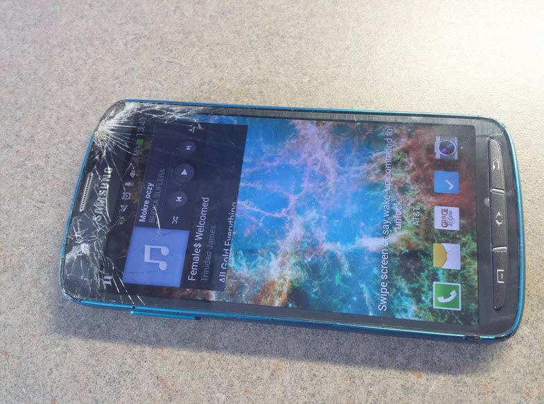 Galaxy S4 Active Hit by Lawnmower Main