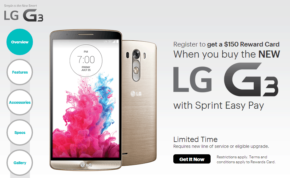 Get the All New LG G3 Smartphone from Sprint11.