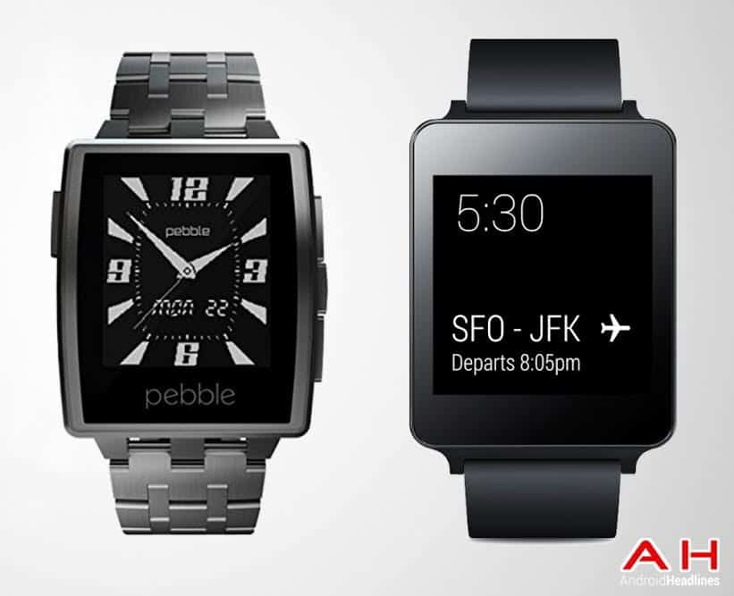 LG G Watch vs Pebble Steel Picture