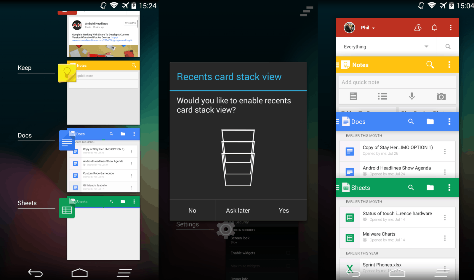 Paranoid Android 4.5 Screen Compilation