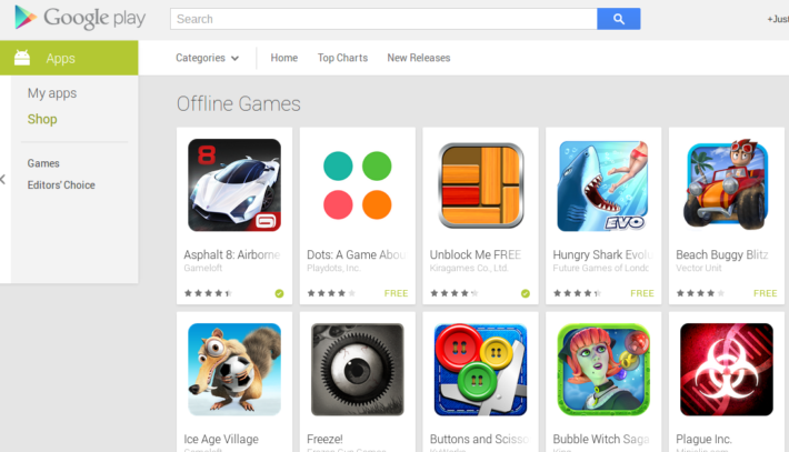"Google Highlights ""Offline Games"" Collection In The Play Store"