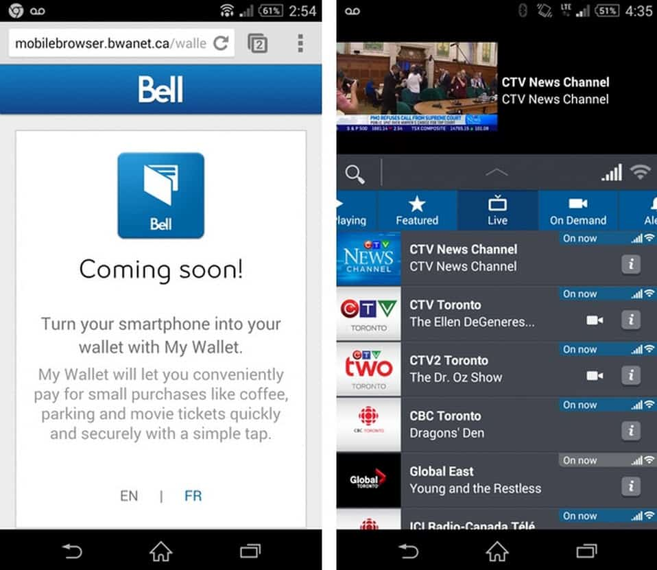 Bell My Wallet and TV