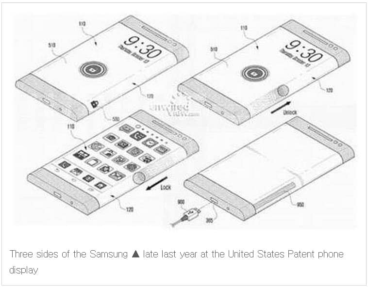 Galaxy Note 4 Patent three sided screen