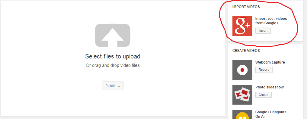 Import YouTube videos to Google+