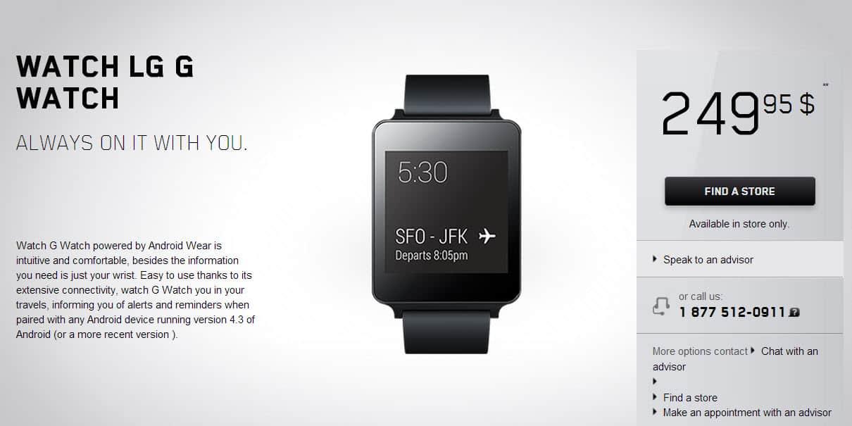 LG G Watch on Videotron