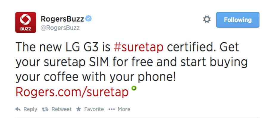 Rogers Suretap on LG G3 Certified