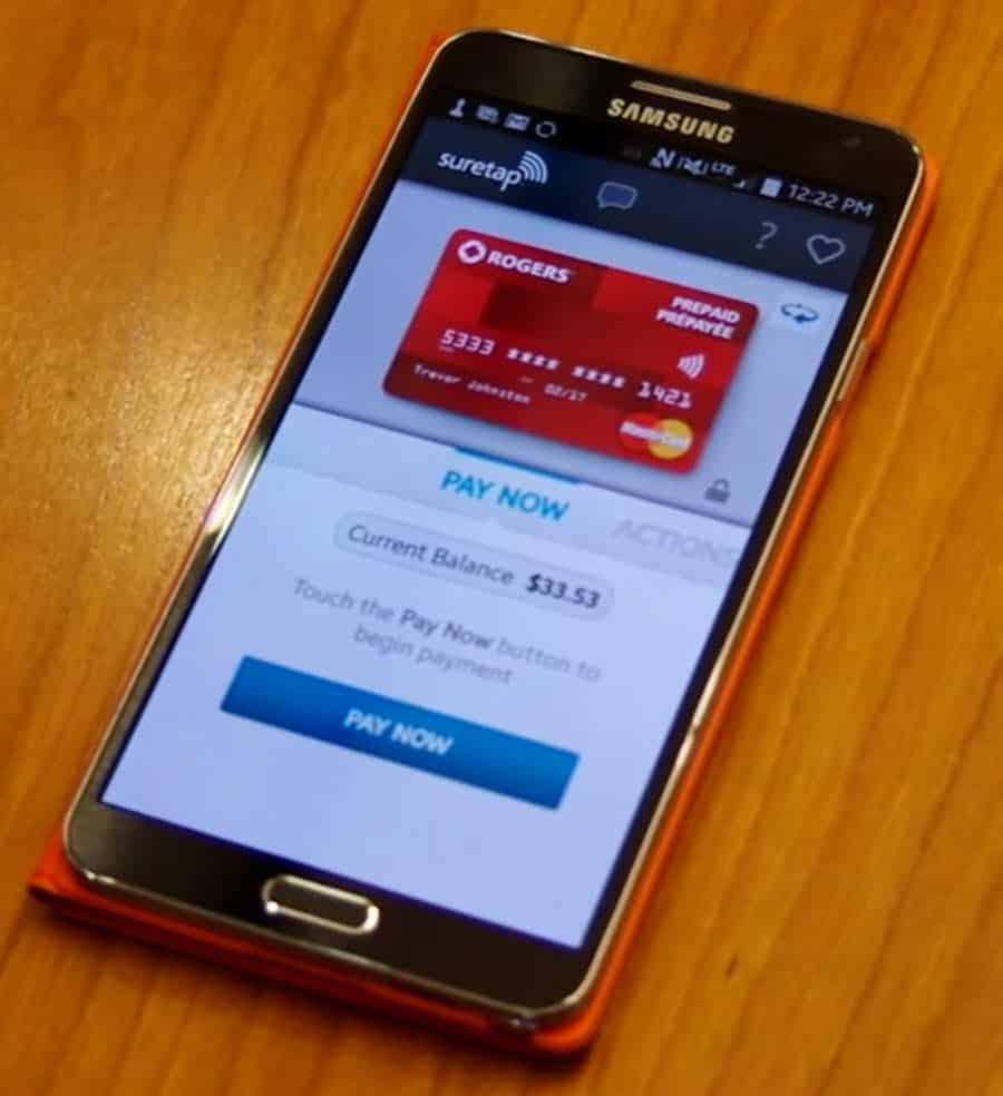 Rogers Suretap on Smartphone