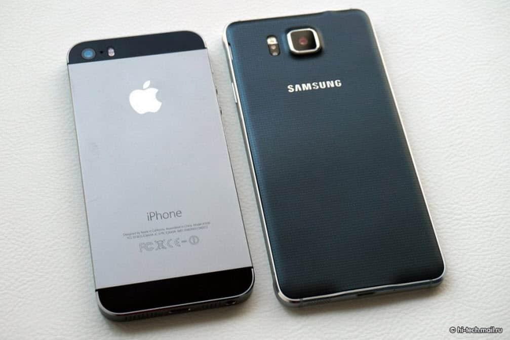 Samsung Galaxy Alpha vs iPhone Back
