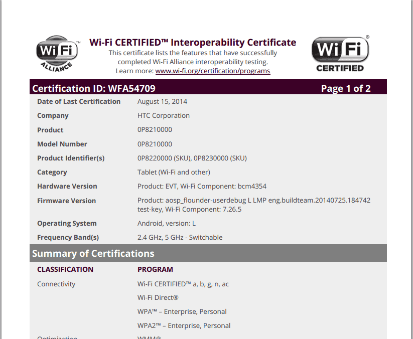 HTC Nexus Tablet WiFi Certification