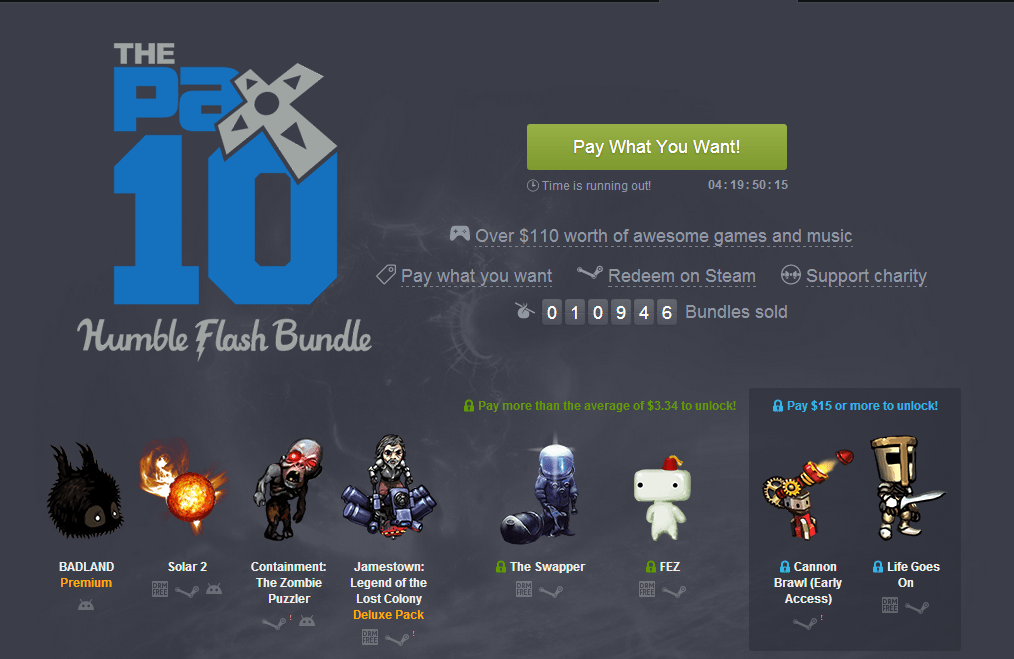 Pax 10 Humble Flash Bundle