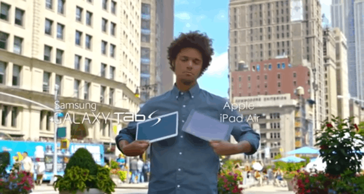 In Samsung's New Ad, New Yorkers Choose between the iPad Air and Galaxy Tab S