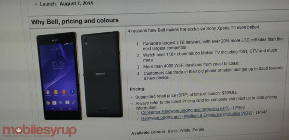 Sony Xperia T3 to Bell
