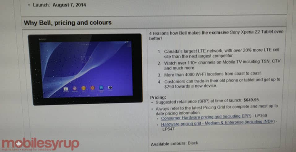Sony Xperia Z2 Tablet on Bell